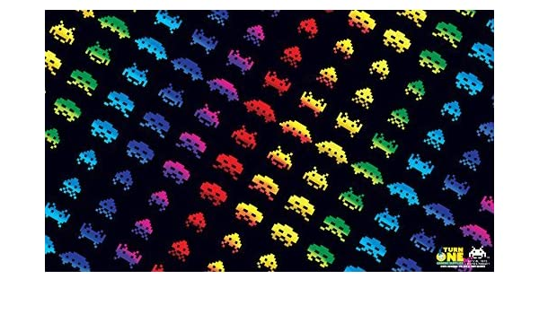 Playmat Turn One Space Invaders Rainbow Attack
